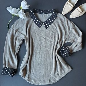 ⚘Shein Grey Soft Blouse